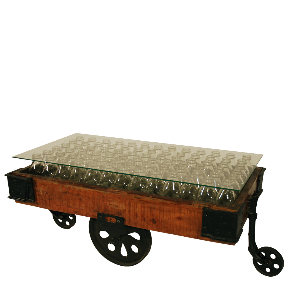 Coffee Table Bottle Antique - Decor & More Event Furniture Rentals Lounge Furniture, Softgoods