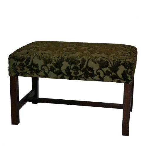 Green Damask Bench With Wooden Legs