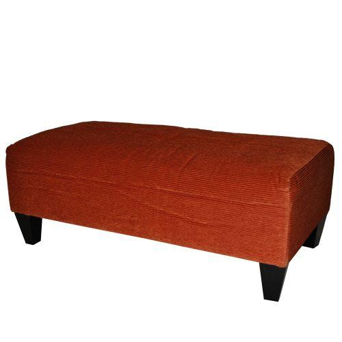 Orange Corduroy Ottoman
