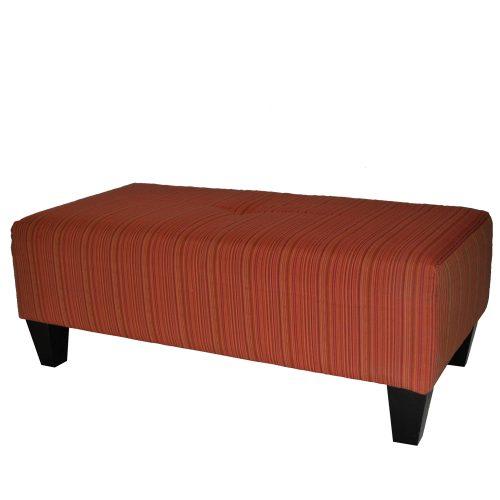 Orange Stripe Ottoman