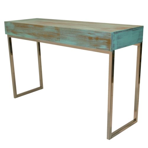 Sofa Table Chrome with Green-Wash Wood Top