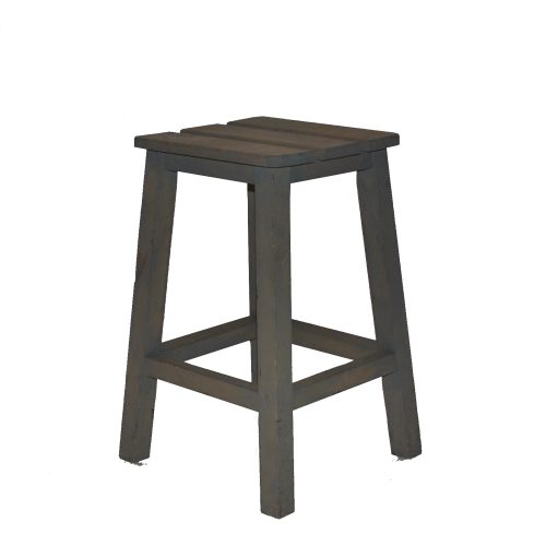 Wooden Stool Grey (Short)