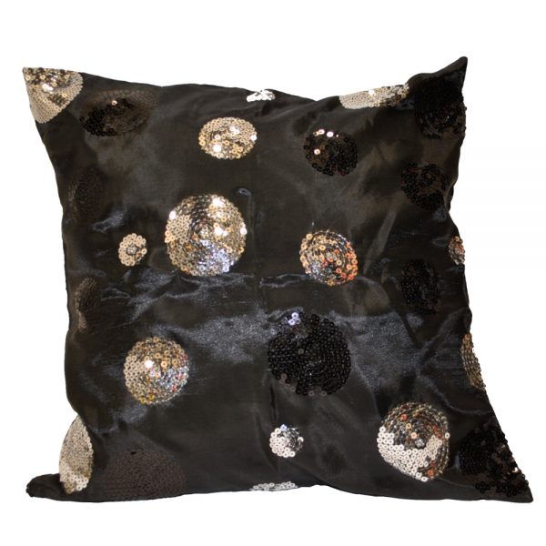 Black Satin with Silver Sequin Circles