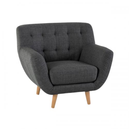 grey tufted armchair