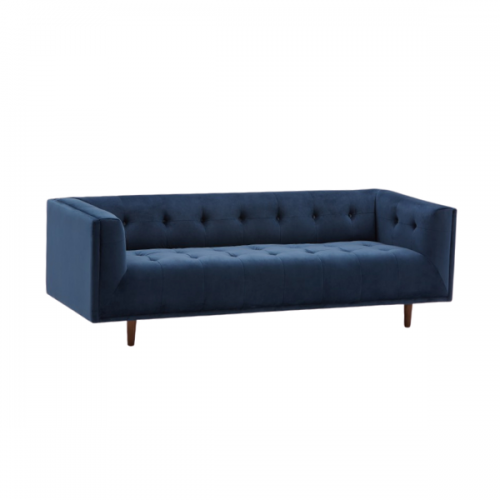 blue tufted velvet couch