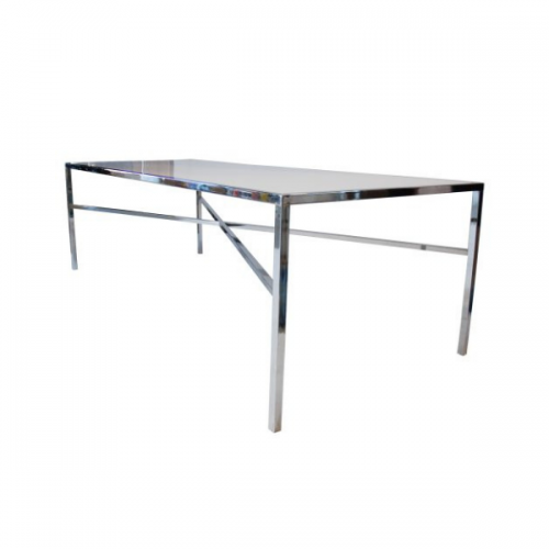 Chrome and Plexi Communal Table - Dining Height