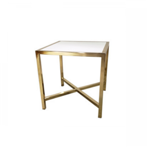 gold cafe table with white plexi