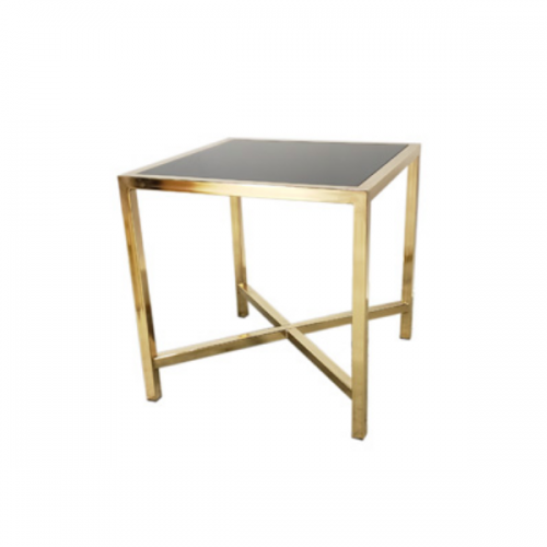 gold cafe table with black plexi