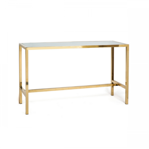 gold communal table with white plexi